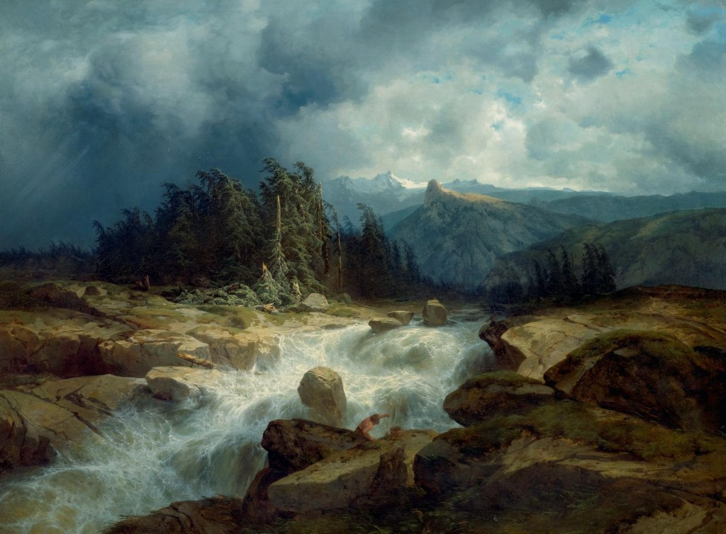 Mountain Torrent Before a Storm (The Aare River, Haslital)